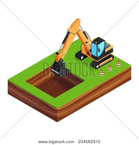 Isometric concept of building a house. 3d excavator is digging a pit for the foundation. House construction phases. Vector illustration.