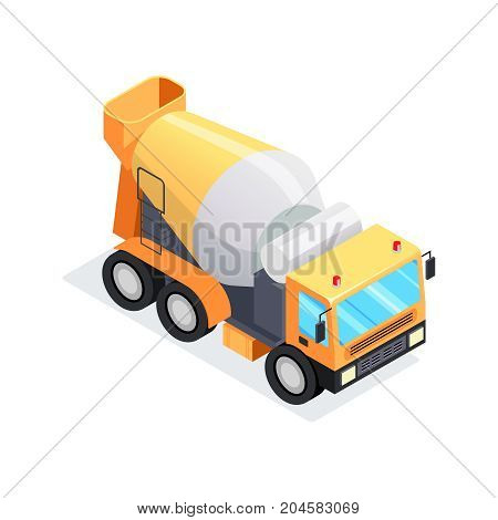 Isometric concrete mixer isolated on white background. 3d concrete mixer front view. Heavy construction machinery. Vector illustration.