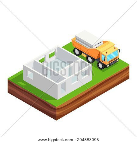 Isometric concept of building a house. 3d concrete house and a truck with reinforced concrete slabs. Concrete wall of the first floor of the house. House construction phases. Vector illustration.