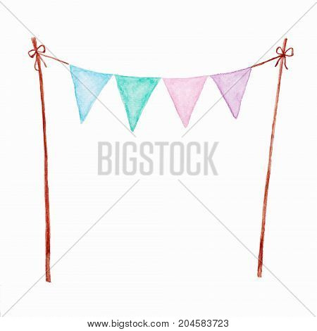 Colorful party bunting flag watercolor drawing isolated on white background Holiday greeting card background