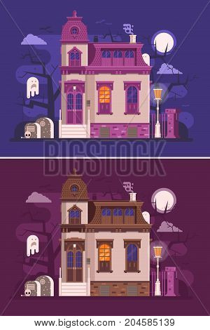 Abstract old haunted house scene with victorian ghost mansion entrance, cemetery, spooks by scary night. Horror story or scary tale concept vector illustration banner. Dark background in flat design.
