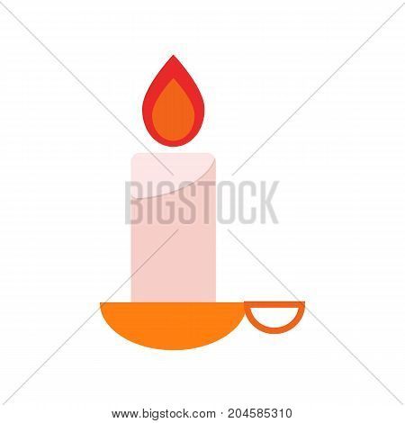 Lantern isolated on white background. Hand flaming candle icon.