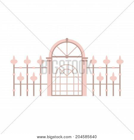 Metallic fence and gates icon. Victorian gateway vector illustration in flat design.