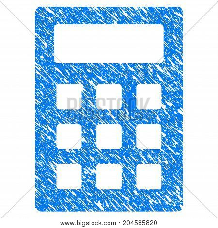 Grunge Calculator icon with grunge design and scratched texture. Unclean vector blue calculator pictogram for rubber seal stamp imitations and watermarks. Draft sticker symbol.