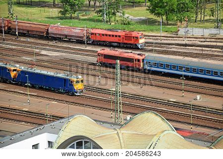 Trains on the station aerial view in summer