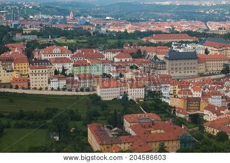 Aerial view of Mala Strana district, Prague