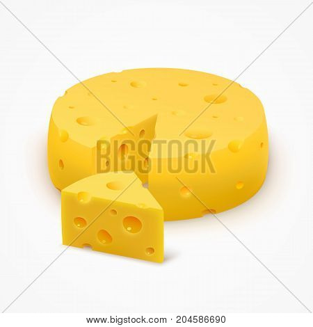 Triangular piece of cheese, object onthe white background. Vector illustration