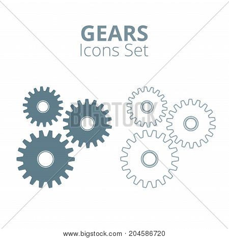 Gear icons set. Machine gear collection in flat design. Vector illustration.
