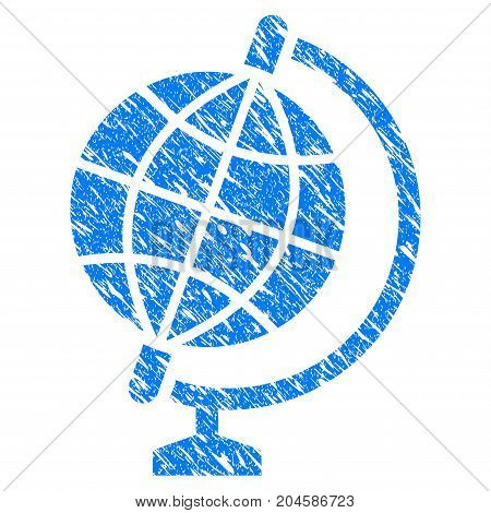 Grunge Globe icon with grunge design and dirty texture. Unclean vector blue globe pictogram for rubber seal stamp imitations and watermarks. Draft emblem symbol.