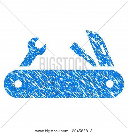 Grunge Multi-Tools Knife icon with grunge design and scratched texture. Unclean vector blue MULTI-TOOLS KNIFE pictogram for rubber seal stamp imitations and watermarks. Draft emblem symbol.