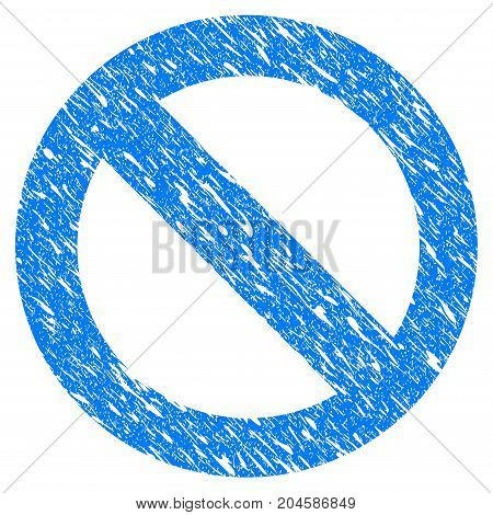 Grunge No Sign icon with grunge design and scratched texture. Unclean vector blue no sign pictogram for rubber seal stamp imitations and watermarks. Draft sticker symbol.