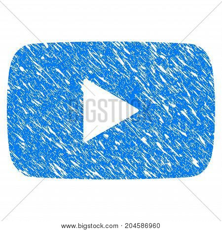 Grunge Play Video icon with grunge design and dirty texture. Unclean vector blue play video pictogram for rubber seal stamp imitations and watermarks. Draft emblem symbol.