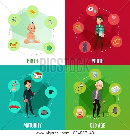 Human life cycle concept including birth, youth, maturity and old age on colorful background isolated vector illustration