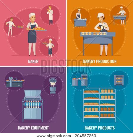 Bakery cartoon design concept with professional equipment, factory workers, bread production, flour products isolated vector illustration