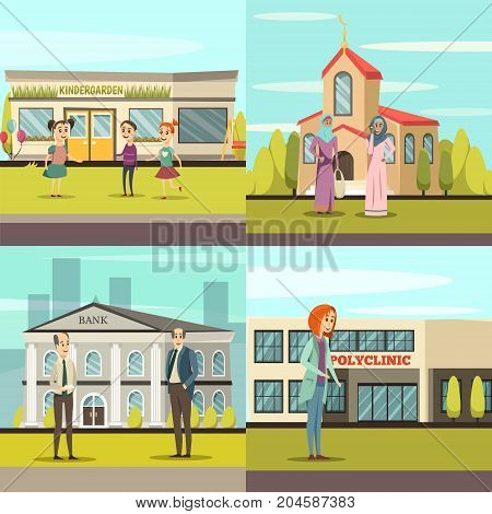 Four squares orthogonal municipal buildings icon set with kindergarden church bank and polyclinic vector illustration