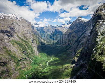 Aerial Landscape Of Fjord Mountain In New Zealand.