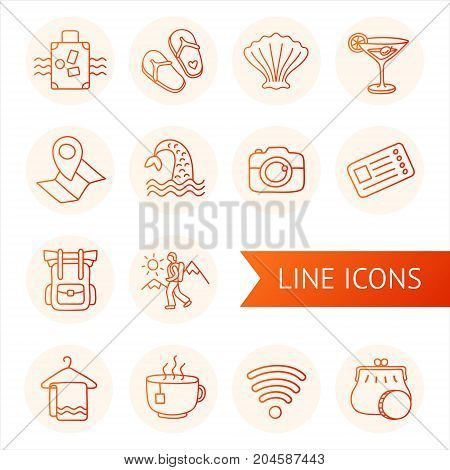 Set of line icons tourism and travel. Hand drawn