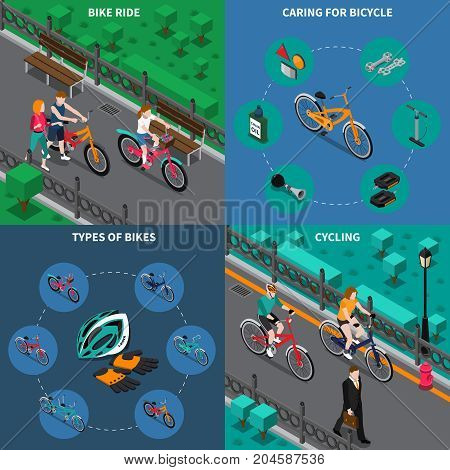Four squares bicycle isometric composition set with bike ride caring for bicycle types of bikes and cycling descriptions vector illustration