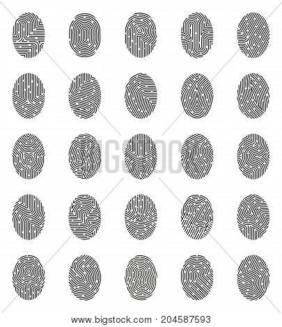 Set of icons with black white unique fingerprints from various curve lines and stains isolated vector illustration