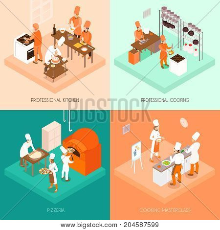 Cooking isometric design concept with professional kitchen and food preparation, pizzeria, culinary master class isolated vector illustration