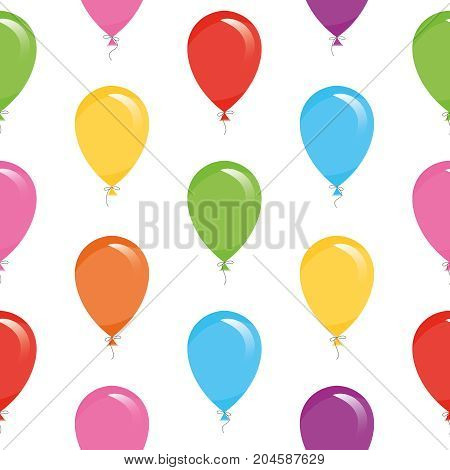 Festive seamless pattern with colorful balloons. For birthday, baby shower, holidays design. Vector