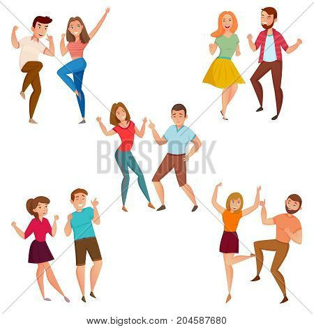 Dancing people 5 young couples party and street style moves cartoon icons composition poster isolated vector illustration