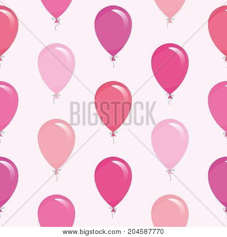 Pink balloons seamless pattern background. For birthday, baby shower design. Vector