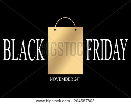 BLACK FRIDAY TEXT AS AN ILLUSTRATION ON BLACK BACKGROUND. BLACK FRIDAY LUXURY BACKGROUND WITH A GOLDEN SHOPPING BAG. BLACK FRIDAY BANNER.