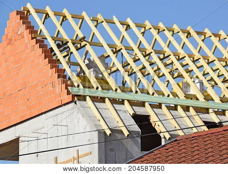 Roof of a new building under construction