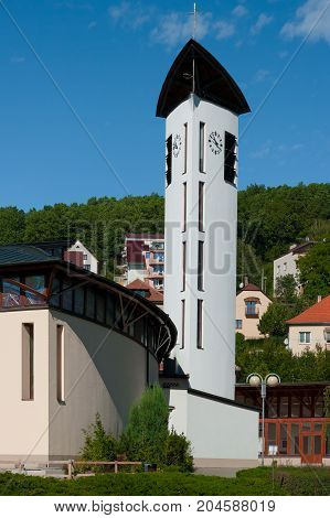 Roman Catholic Church of the Holy Family in Luhacovice. Southern Moravia, Czech Republic.