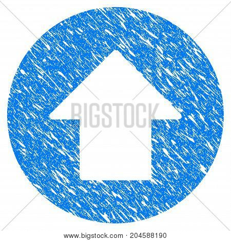 Grunge Up Arrow icon with grunge design and scratched texture. Unclean vector blue up ARROW pictogram for rubber seal stamp imitations and watermarks. Draft emblem symbol.