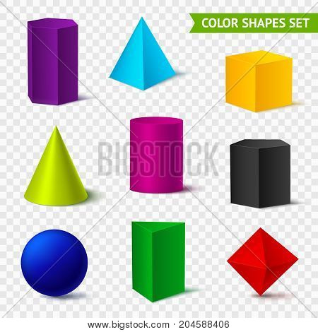 Realistic geometric shapes transparent color set with isolated geometrical objects of different colour on transparent background vector illustration