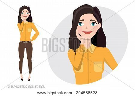 Vector illustration of a cute shy girl. Modern trendy woman in casual sports style.