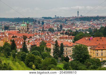 Aerial view of Prague center in Bohemia, Czech Republic