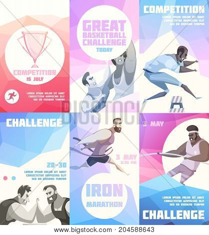 Competition flyer set of six vertical posters with cartoon sportsman characters representing different kinds of sport vector illustration