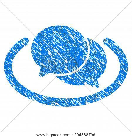 Grunge Chat icon with grunge design and dirty texture. Unclean vector blue chat pictogram for rubber seal stamp imitations and watermarks. Draft sticker symbol.