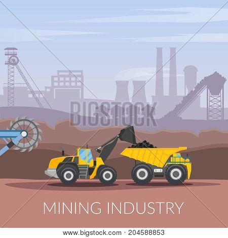 Mining industry flat composition with coal loading by excavator to truck on factory background vector illustration