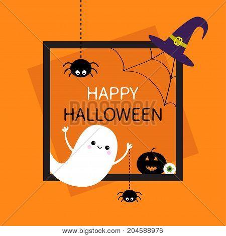 Happy Halloween. Square frame. Flying ghost monster head silhouette. Black spider dash line. Pumpkin eyeball witch hat. Cute cartoon baby character Flat design Orange background Vector illustration