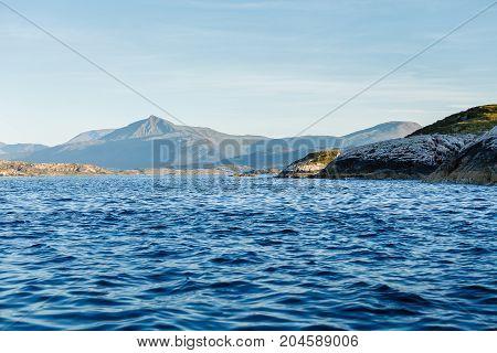 Beautiful view on norwegian fjords. outdoor shot in Norway. copy space.