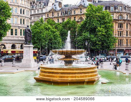 People In Trafalgar Square In London (hdr)