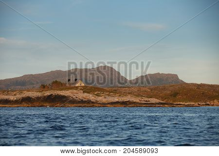Beautiful view on norwegian fjords. outdoor shot in Norway. sunset. copy space.