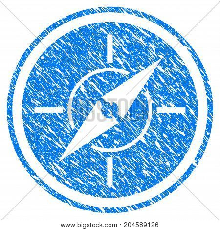 Grunge Compass icon with grunge design and unclean texture. Unclean vector blue compass pictogram for rubber seal stamp imitations and watermarks. Draft sticker symbol.