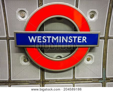 Westminster Tube Station Roundel In London (hdr)