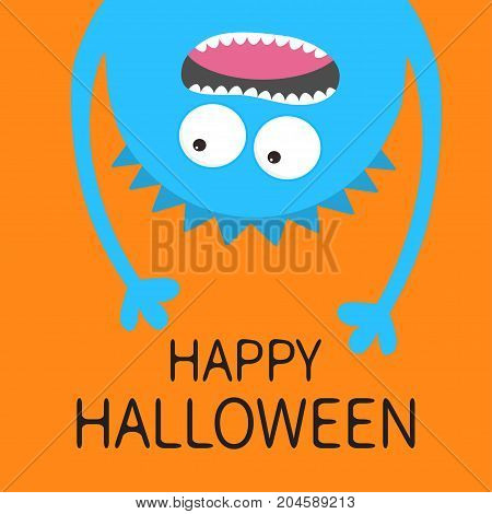 Happy Halloween card. Screaming monster head silhouette. Two eyes teeth tongue hands. Hanging upside down. Blue Funny Cute cartoon baby character.Flat design. Orange background. Vector