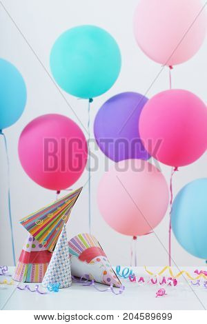 the beautiful background of balloons for birthday