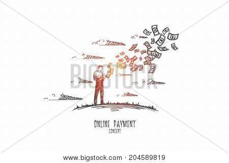 Online payment concept. Hand drawn man paying bills through the internet. Person holding smartphone and making payment isolated vector illustration.