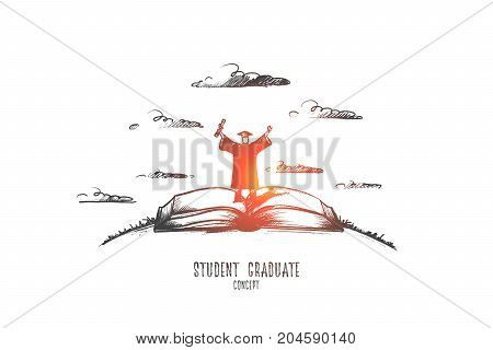 Student graduate concept. Hand drawn succesful student graduated. Person standing on book isolated vector illustration.
