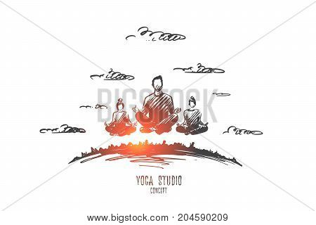 Yoga studio concept. Hand drawn people in a lotus pose. People practicing yoga isolated vector illustration.