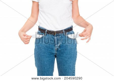 Poor Woman With Empty Pockets