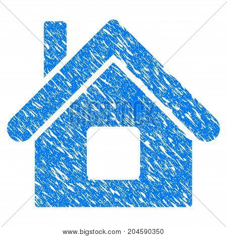 Grunge Home icon with grunge design and scratched texture. Unclean vector blue home pictogram for rubber seal stamp imitations and watermarks. Draft emblem symbol.